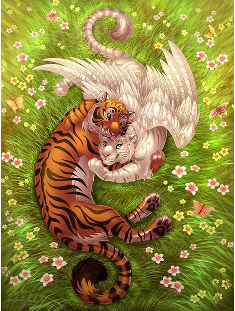 5D Diamond Painting Kits for Adults, 12x16 inch Full Drill Crystal Rhinestone Cross Stitch Embroidery Landscape Diamond Painting 3D Tiger Arts Craft for Living Room Home Wall Decor Gift