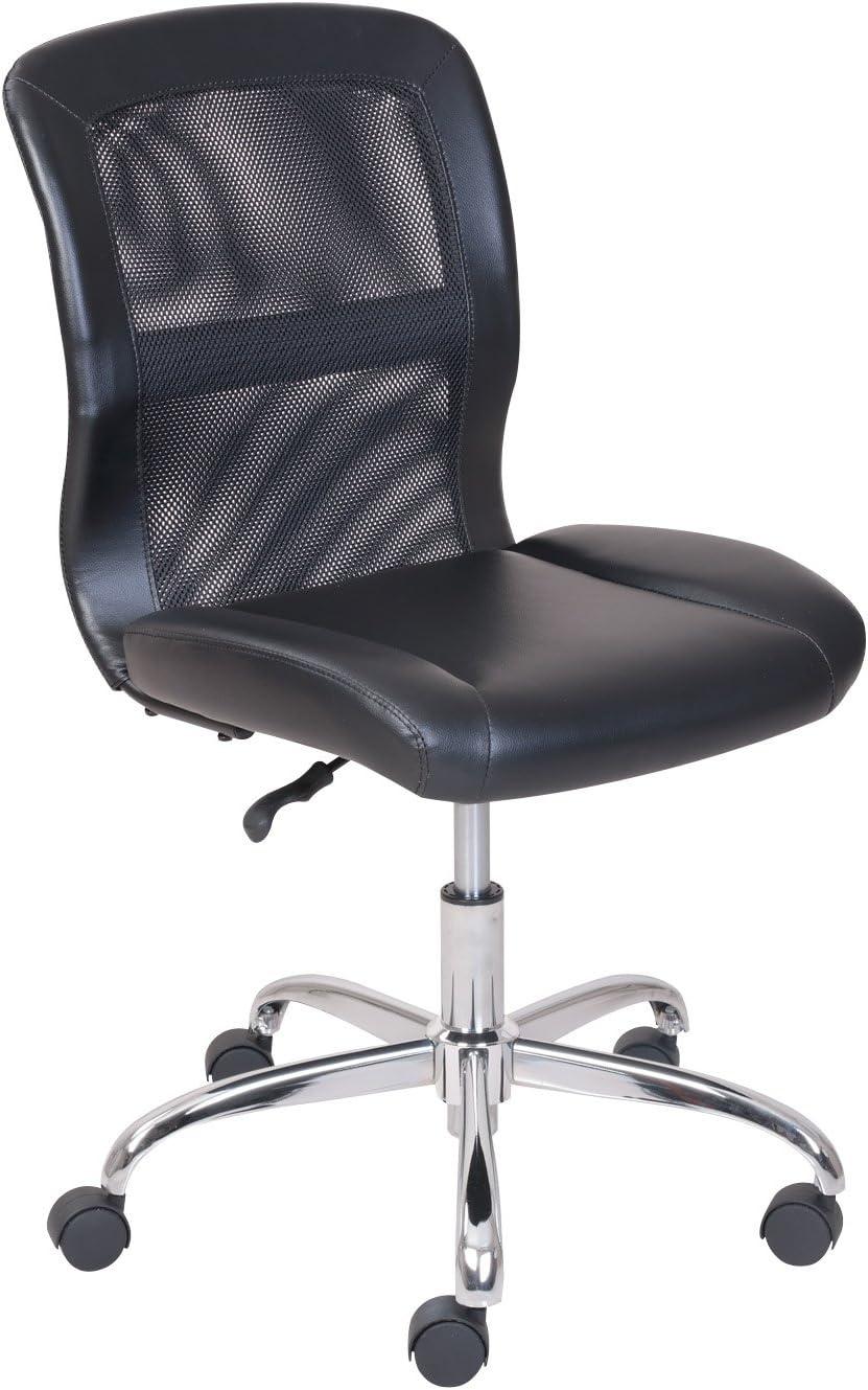 escritorio de oficina Silla Negra MALLA Y Cuero Sintético ...