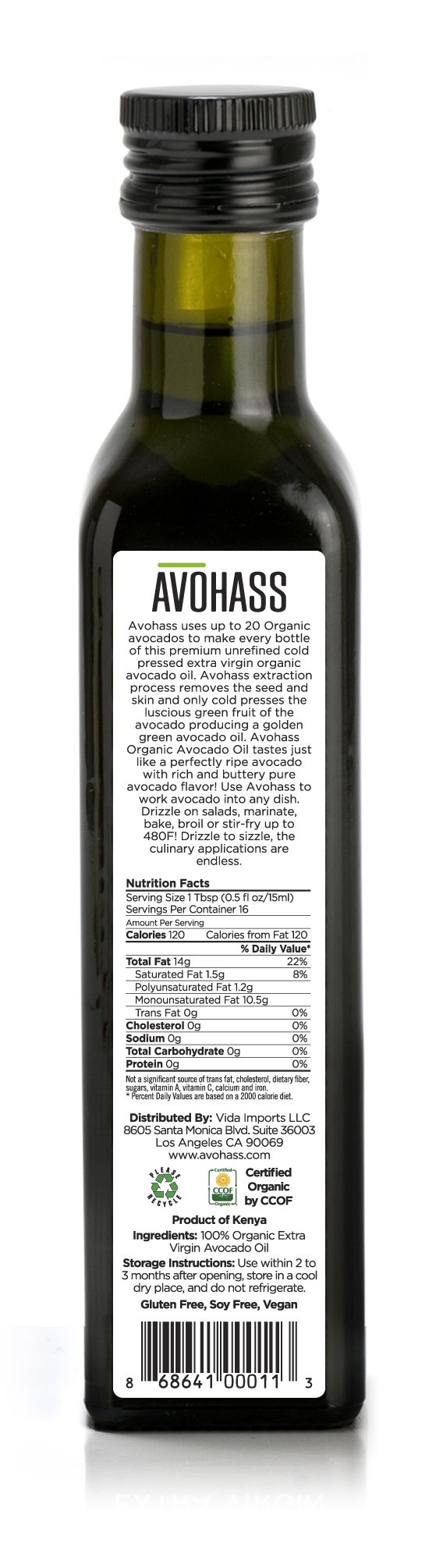 Avohass California Organic Extra Virgin Avocado Oil 2 Bottle Case by AVOHASS (Image #2)