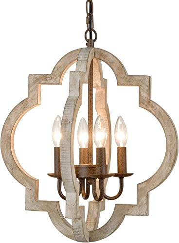 Modern Farmhouse White Wood Chandeliers Orb Dining Room Pendant Chandelier Wooden French Country Chandelier