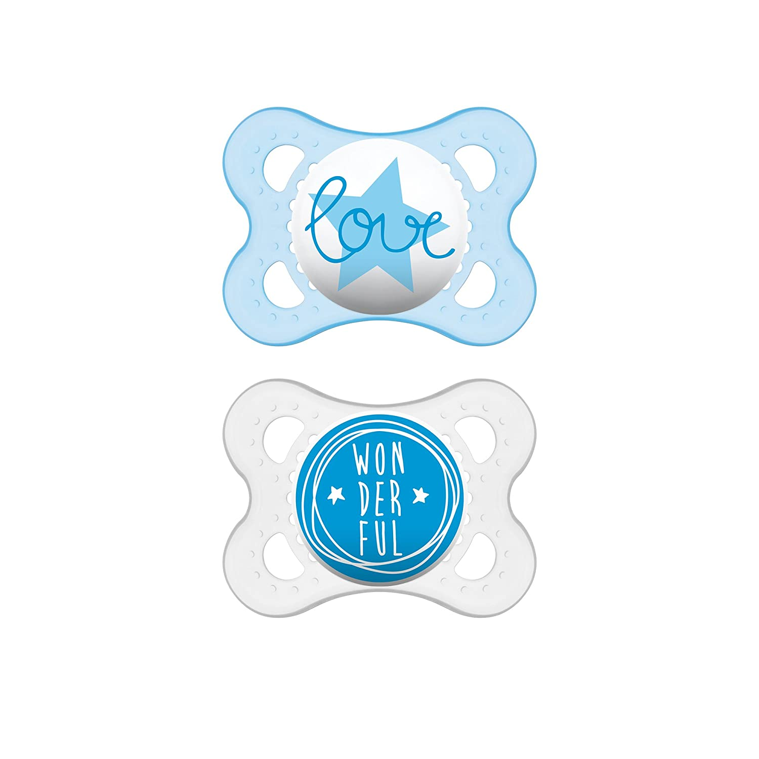 MAM Attitude Collection Pacifiers Designs May Vary MAM Pacifier 0-6 Months 2 pack, 1 Sterilizing Pacifier Case Baby Boy Pacifier Best Pacifier for Breastfed Babies