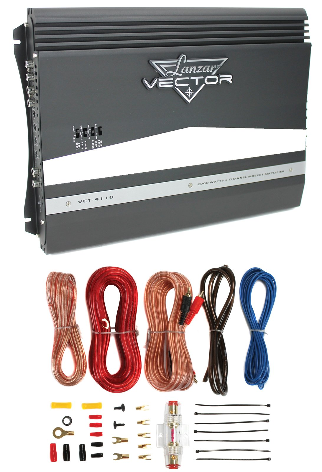 New Lanzar VCT4110 2000W 4-Channel Car Audio Amplifier Amp + 8 Gauge Amp Kit