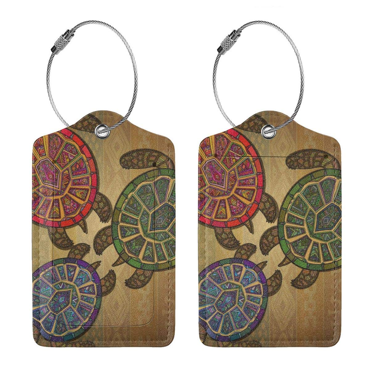 Leather Luggage Tag Three Turtles Ethic Tribal Ornate Style Luggage Tags For Suitcase Travel Lover Gifts For Men Women 4 PCS