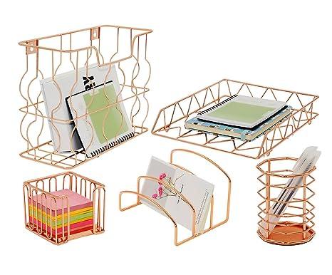 PAG Rose Gold Office Supplies 5 In 1 Metal Desk Organizer Set   Hanging  File Organizer