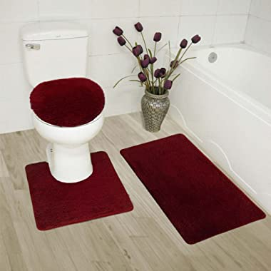 Mk Home Collection 3 Piece Bathroom Rug Set Bath Rug, Contour Mat & Lid Cover Non-Slip with Rubber Backing Solid Burgundy New