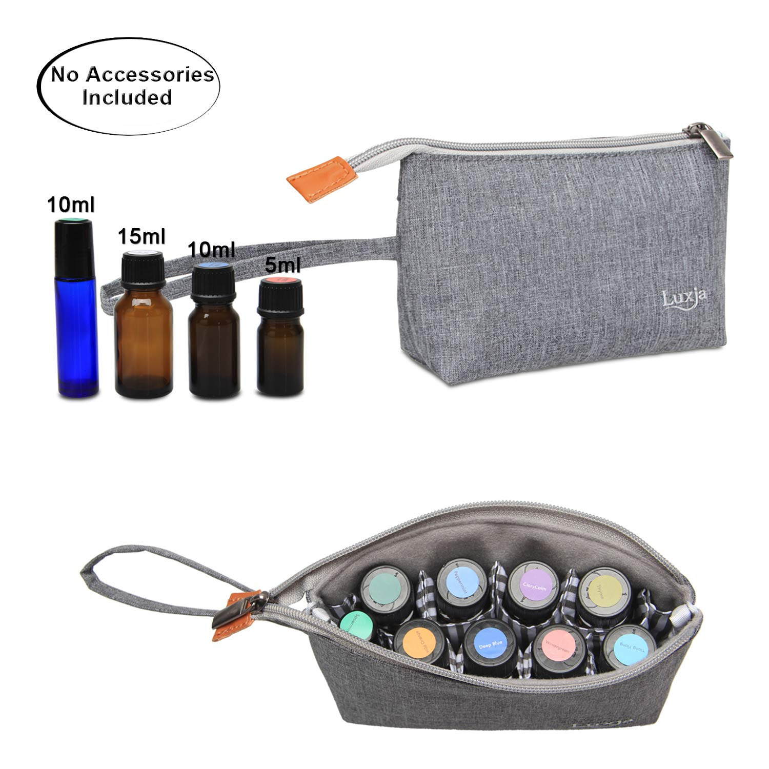 Luxja Essential Oil Carrying Bag - Holds 9 Bottles (5ml-15ml, Including Roller Bottles), Portable Organizer for Essential Oil and Small Accessories, Purple