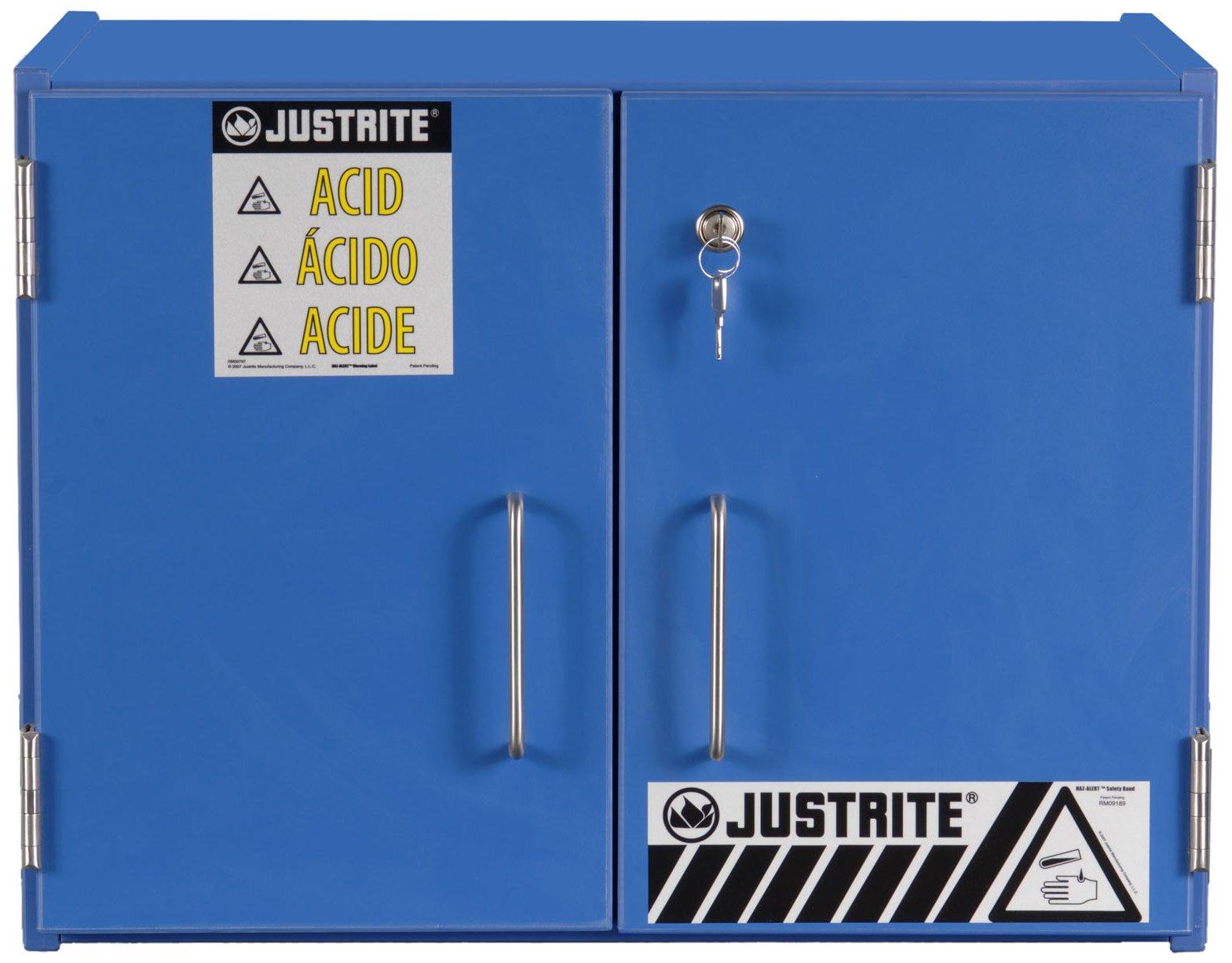 Justrite 24120 6 - 2 1/2 Liter Bottles, 18 3/8'' x 24'' x 15 7/8'', Two Sliding Doors Corrosive Storage Non-Metallic Cabinets