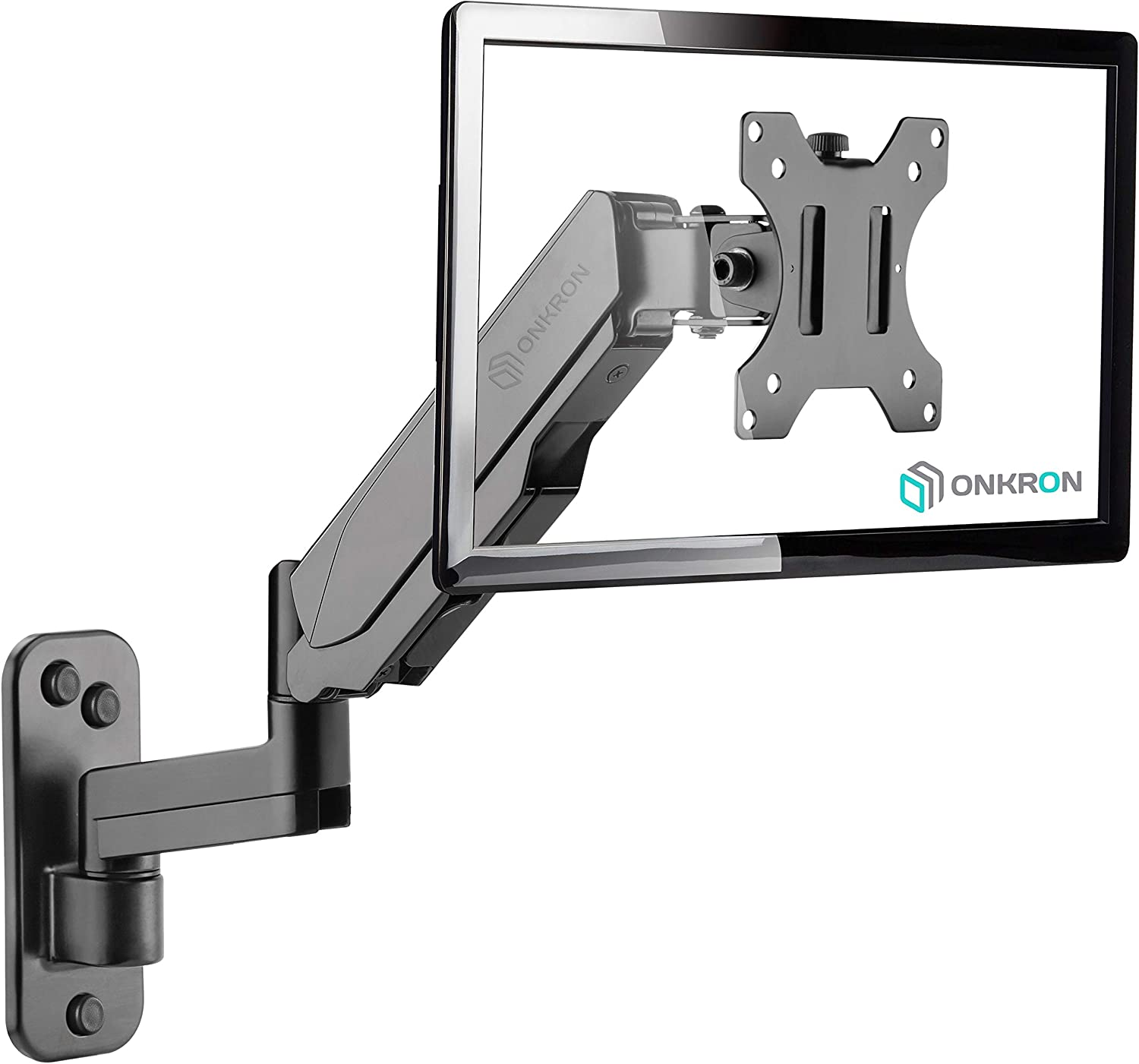 "ONKRON TV Monitor Wall Mount Bracket for 13"" – 32-Inch Screens Full Motion with Gas Spring Black G150"