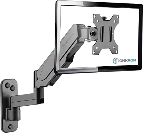 ONKRON TV Monitor Wall Mount Bracket for 13 32-Inch Screens Full Motion with Gas Spring Black G150