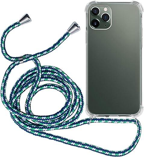 MyGadget Funda Transparente con Cordón para Apple iPhone 11 Pro - Carcasa Cuerda y Esquinas Reforzadas en Silicona TPU - Case y Correa - Negro