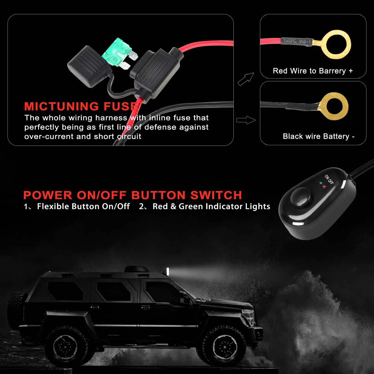Kawell Wiring Harness For Led Light Bar Off Road Power 2015 Police Explorer 40a Relay Fuse On Switch 1 Lead 10feet Automotive