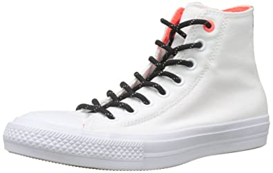 Converse Mens WHITE/BLACK/ORANGE, Chuck Taylor All Star II Shield, 4