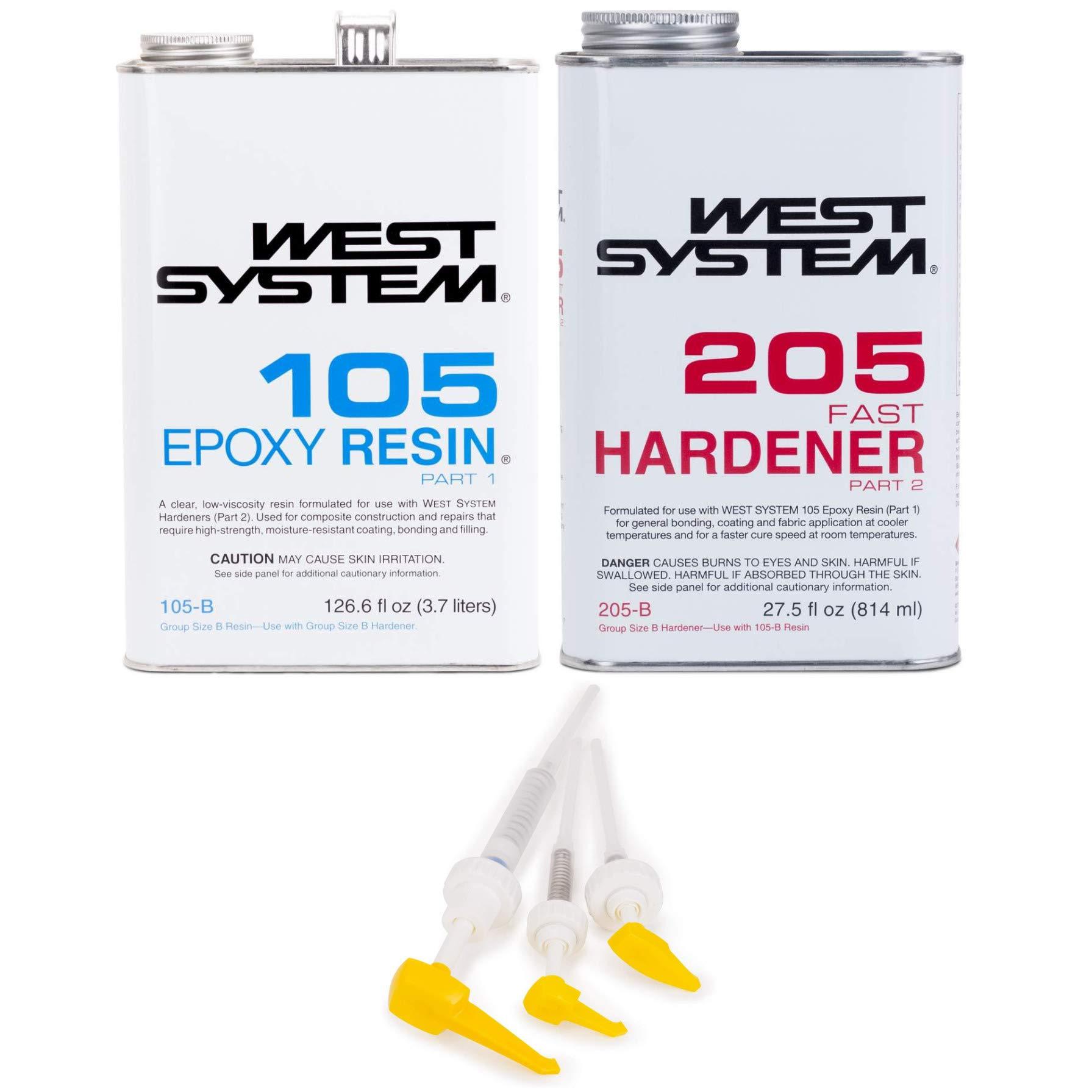 West System 105-B Epoxy Resin (.98 gal) with 205-B Fast Epoxy Hardener (.86 qt) and Mini Epoxy Metering Pump Set