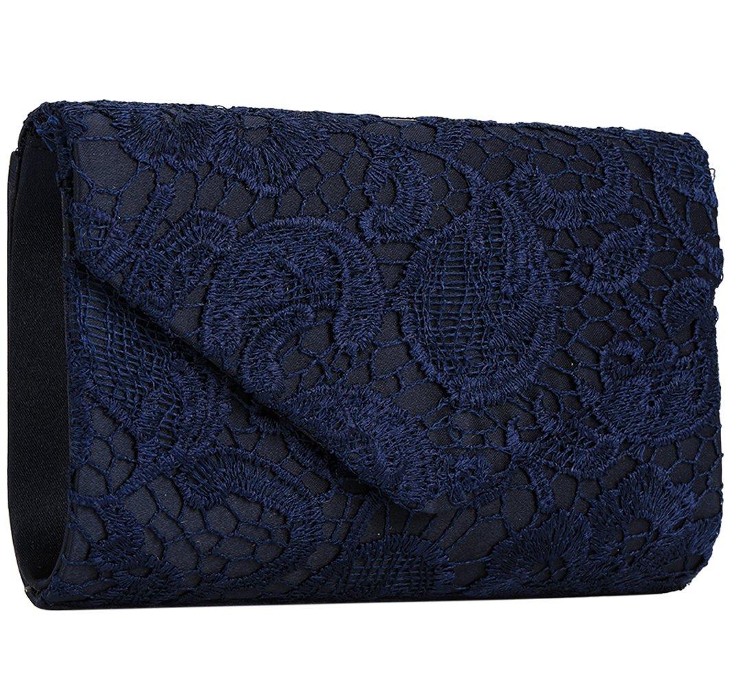 Jubileens Women's Elegant Floral Lace Envelope Clutch Evening Prom Handbag Purse (Navy blue)