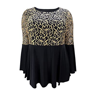 Yitonglian Women s Floral Lace Golden Embroidery Flare Sleeve Evening Black  Tops at Amazon Women s Clothing store  7905334ca6e2