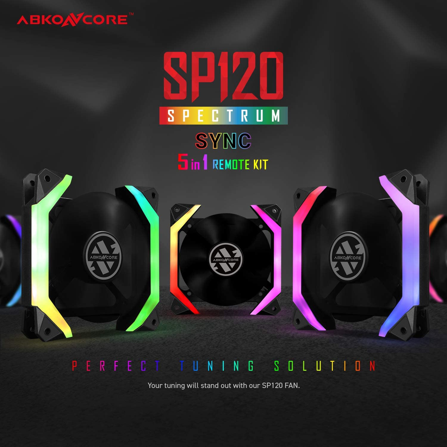 50 LED Modes with Fan Control Hub 120mm-5 Pack SYNC PWM RGB 120mm Computer Fans with Spider-Shaped Frame PC Case RGB Fans ABKONCORE SP120 PC Fan