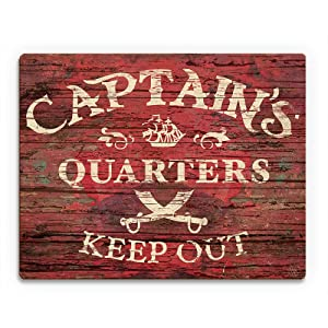 Captain's Quarters Keep Out- Red: Distressed Vintage Indoor Sign with Tall Ship and Crossed Swords Sabers on Woodplank-pattern Wall Art Print on Wood