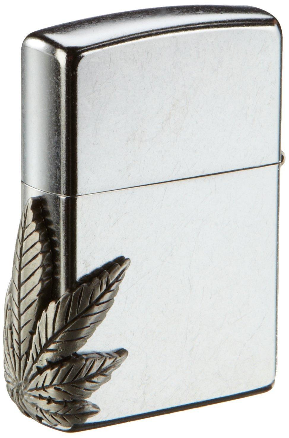 Zippo 2000561 - Mechero con relieve de marihuana en el lateral