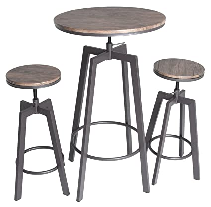 Zenvida 3 Piece Round Pub Table And Stool Set Wood Top Metal Bar Bistro