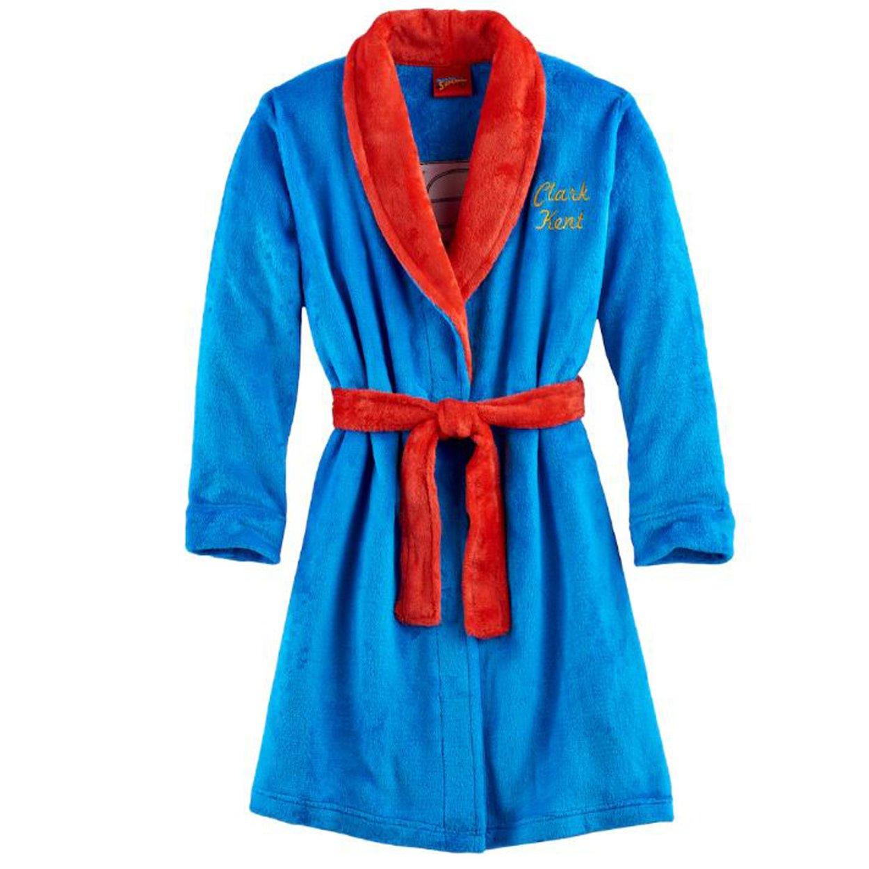 Komar Kids Superman Boys Fleece Bathrobe Robe (Medium/8, Blue)