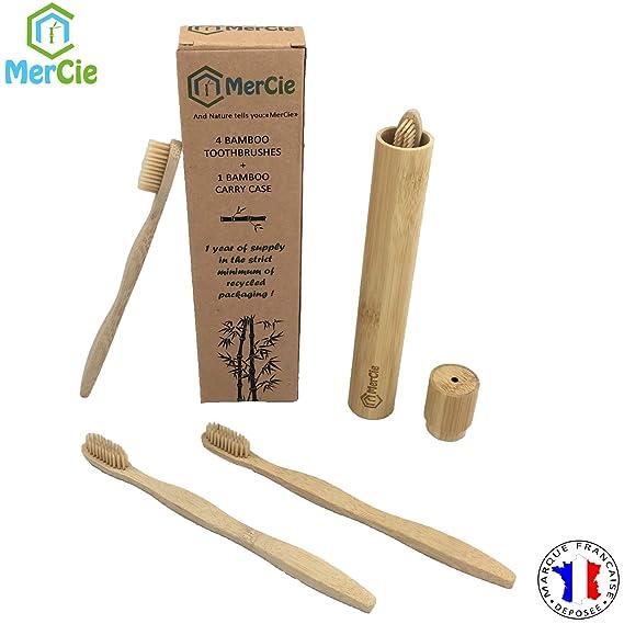 Conjunto de 4 cepillos de bambú ecológicos + caja de ...