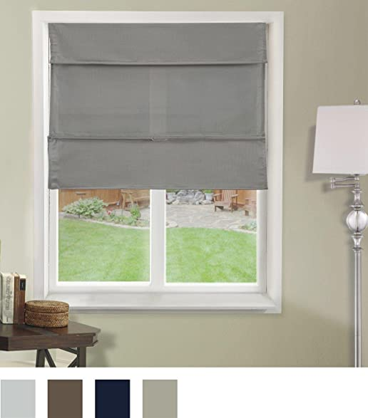Chicology Cordless Magnetic Roman Shades Window Blind Fabric Curtain Drape Light Filtering Privacy