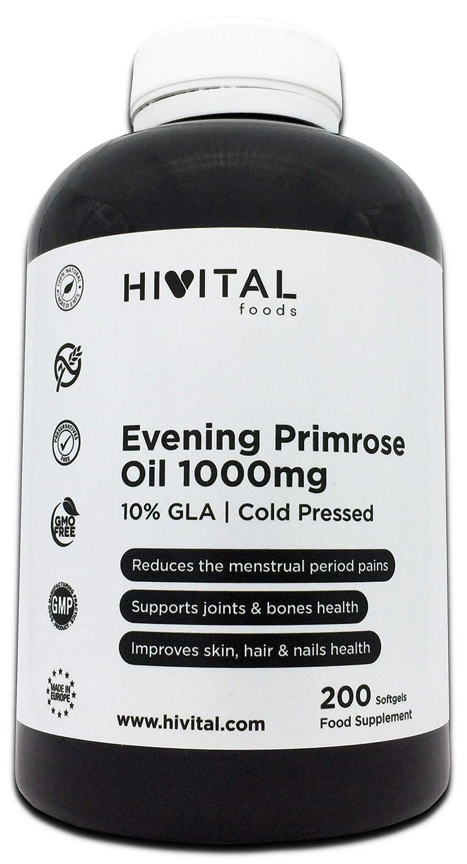 Aceite de Onagra 1000 mg con 10% GLA y Vitamina E | 200 perlas de Aceite Vegetal (Más de 6 meses de suministro) | Reduce los dolores menstruales y mantiene ...