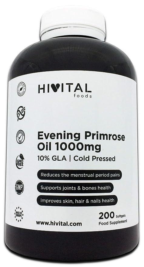 Aceite de Onagra 1000 mg con 10% GLA y Vitamina E | 200 perlas de ...