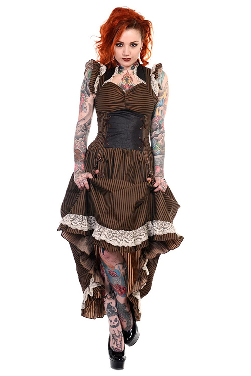 Steampunk Dresses and Costumes Stripe Steampunk Vintage Victorian Corset Dress $84.00 AT vintagedancer.com