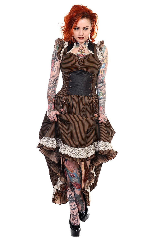 Steampunk Dresses | Women & Girl Costumes Stripe Steampunk Vintage Victorian Corset Dress $84.00 AT vintagedancer.com