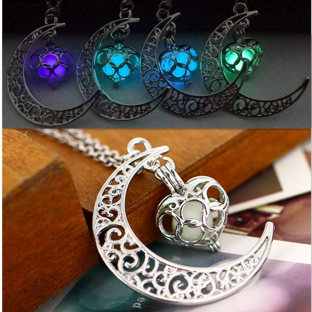 Toponly Moon Pendant Necklace Glow Luminous Hollow with Ball Night Great Gift for Women Mom by Toponly (Image #1)