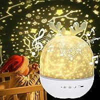 URAQT Lámpara Proyector Estrellas, Proyector Bebe, 360° Rotación Músic Lampara con…