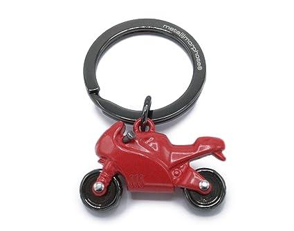 Llavero con motocicleta de color rojo adrenalina. Precioso llavero con motocicleta deportiva de color rojo