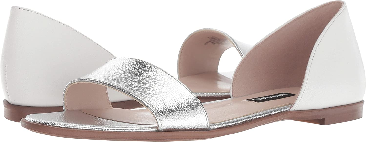 Nine West Women's Facinate Ballet Flat B07CR295B5 12 B(M) US|White/Silver Leather