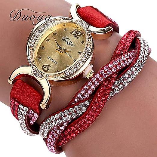 Scpink Relojes de Pulsera para Mujer, Tejido de separación Relojes de Cuarzo para Dama con Diamantes de imitación Óvalo Dial Reloj Digital Relojes de Cuero ...