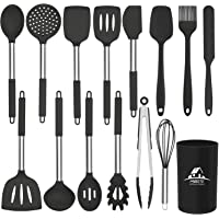 Mibote 15 Pcs Silicone Kitchen Utensils Set, Cooking Utensils Set with Heat Resistant BPA-Free Silicone and Stainless…
