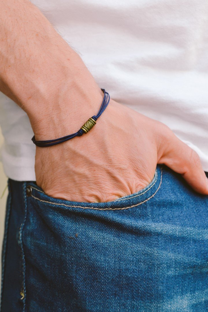 Blue cord bracelet for men, men's bracelet, bronze tube charm, blue cord, gift for him, friendship bracelet, mens jewelry, men's wristband men's bracelet men's wristband