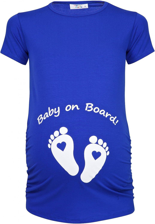 199p Happy Mama Damen Umstands Oberteil T-Shirt Babyf/ü/ßchen Baby on Board Druck