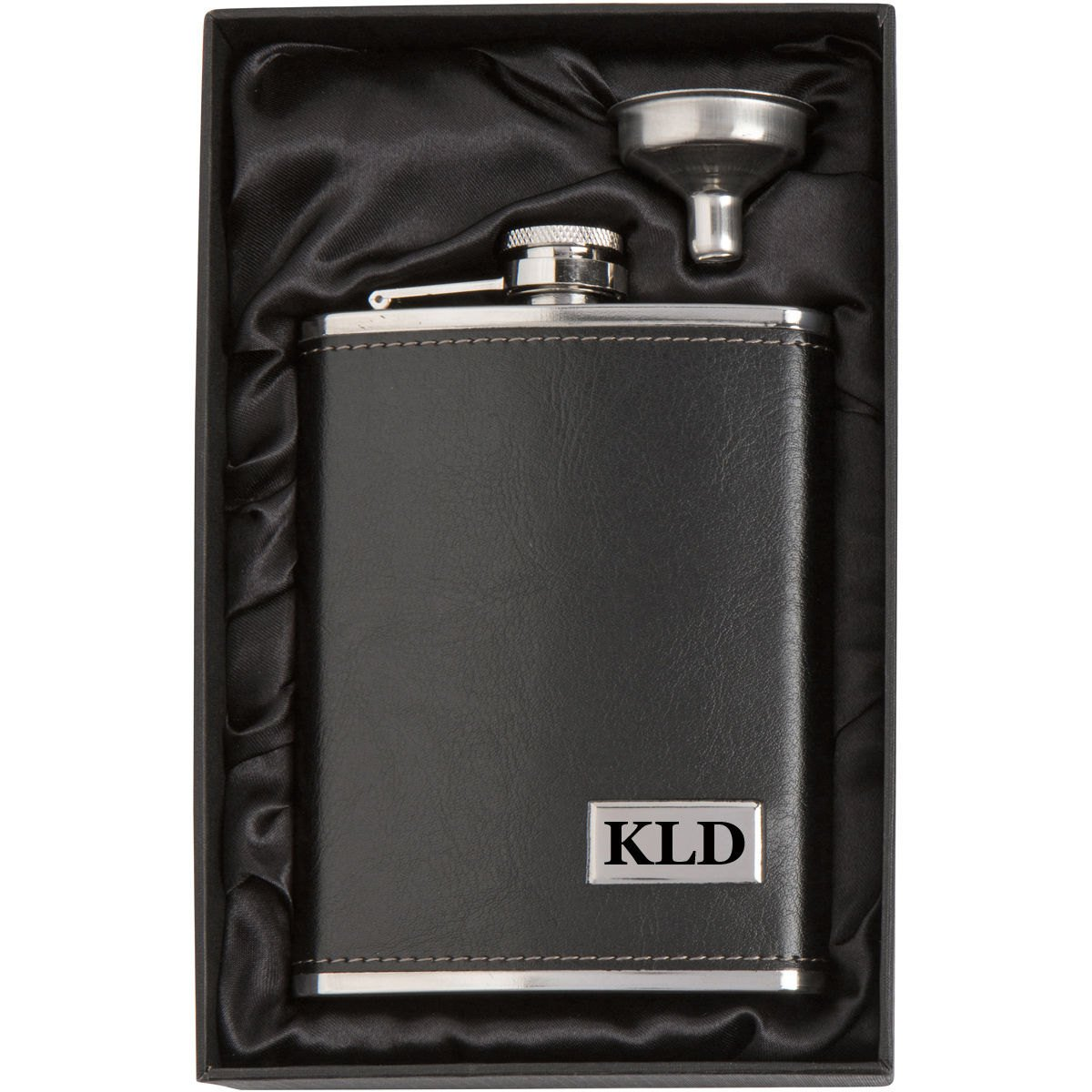Engraved 8oz Leather Wrapped Stainless Steel Hip Flask & Funnel Gift Set Custom Personalized