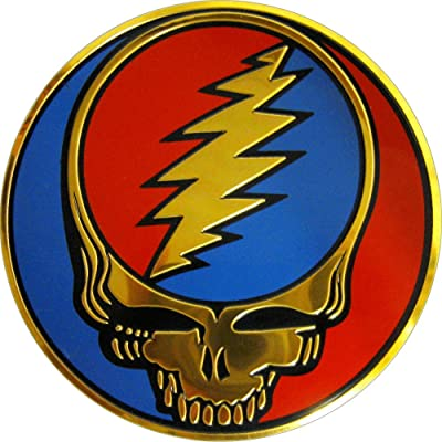 Square Deal Recordings & Supplies Grateful Dead Steal Your Face SYF on Gold Metal Sticker/Decal: Automotive