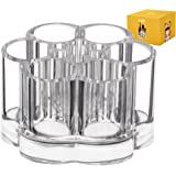 Acrylic Lipstick Makeup Storage Organizer - Clear countertop flower design holder with 7 individual slot organizers for brushes nail polish essential oils eyeshadow pens make up & even office supplies