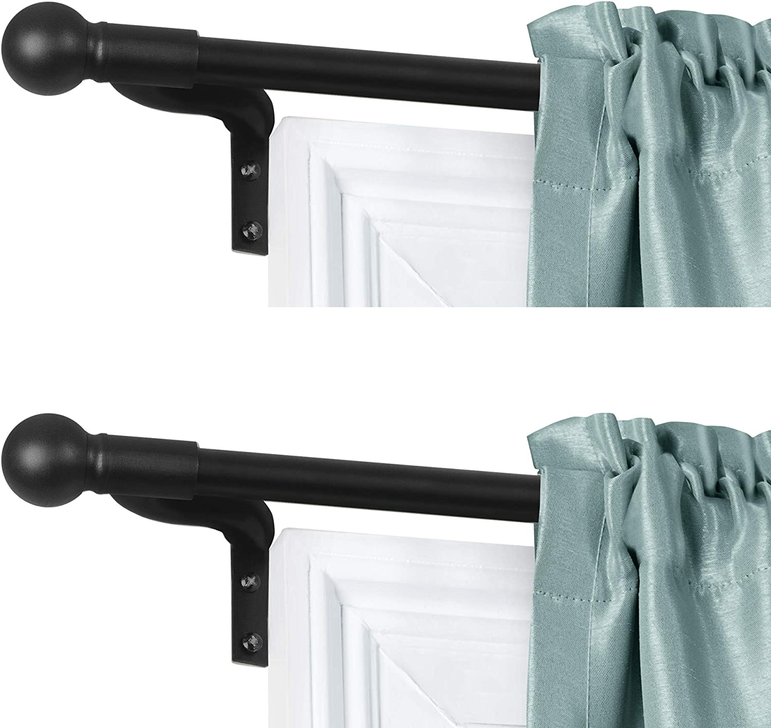 Zenna Home, Black, Smart Measuring Easy Install Adjustable Café Window, 18 to 48 in, with Ball Finials, 2-Pack of Rods