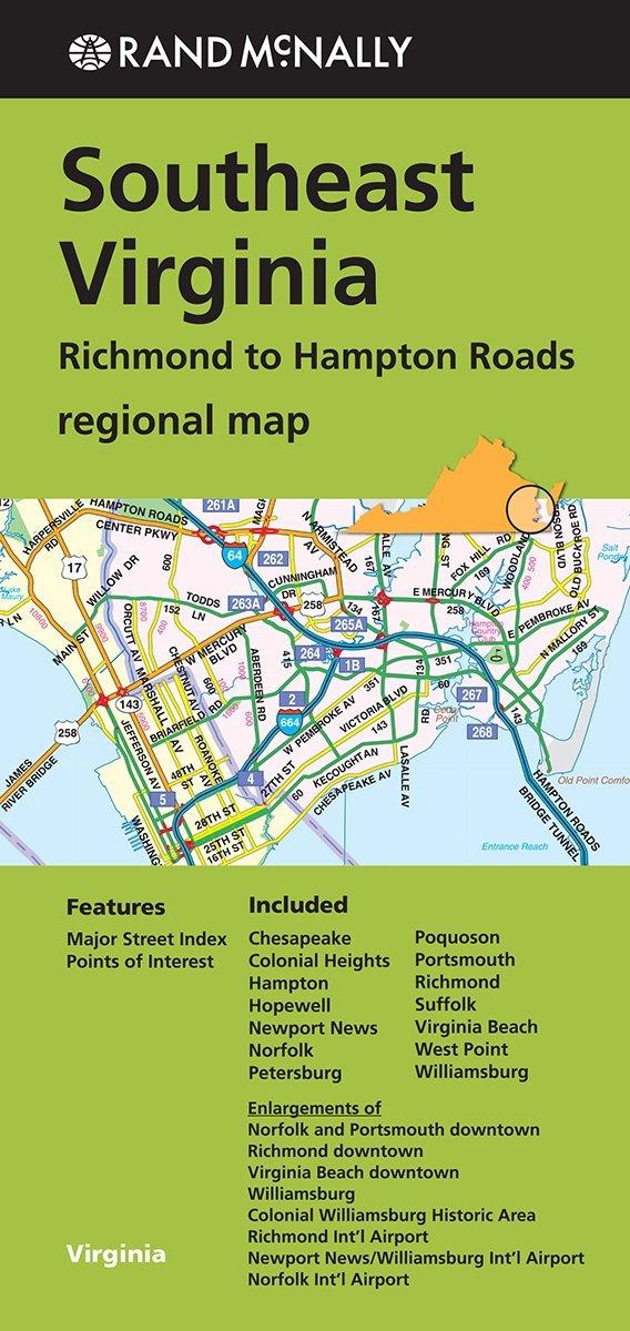 Map Of Virginia Roads.Rand Mcnally Southeast Virginia Regional Map Richmond To Hampton
