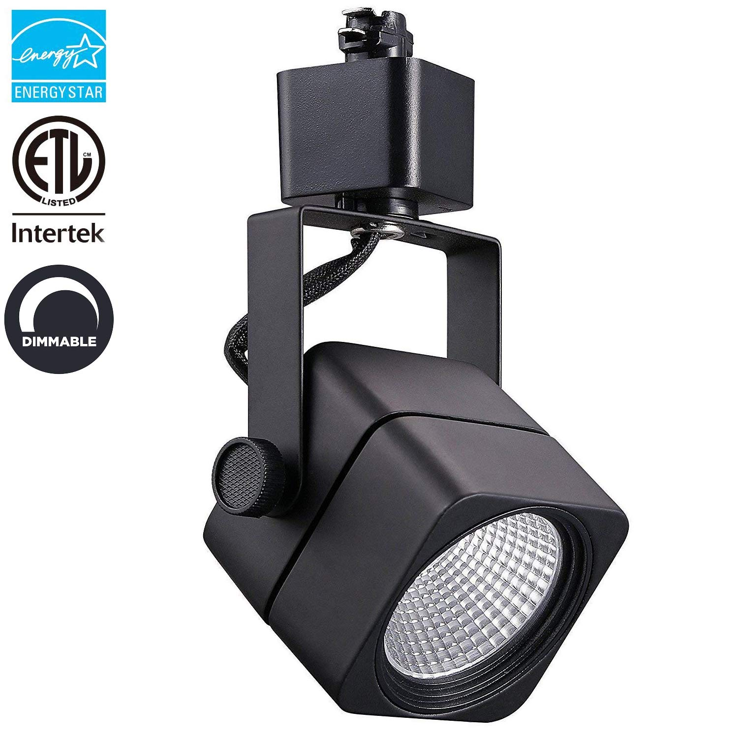 LED Track Lighting Head Black, CRI90+ 8W(=60W) 600LM Compatible with H Type Track   Energy Star ETL-Listed   for Home Decoration, 3000K Warm White Dimmable Square Light
