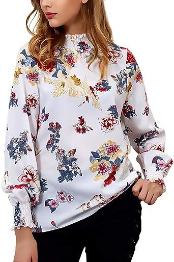 Camisa De Manga Larga Mujer Vintage Fashion Floreadas Chiffon Blusas Elegantes Ocasional Manga Largo High Collar Ropa Camisa Tops Primavera Otoño: Amazon.es: Ropa y accesorios