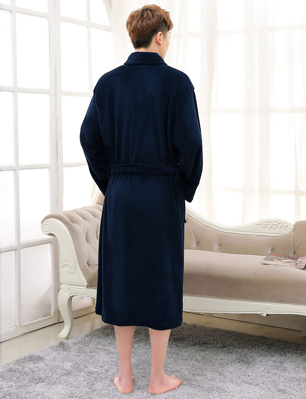 CaiDieNu Men\'s Dressing Gown Luxury Soft Bath Robe Microfiber Nightwear Knee Length Housecoat Loungewear