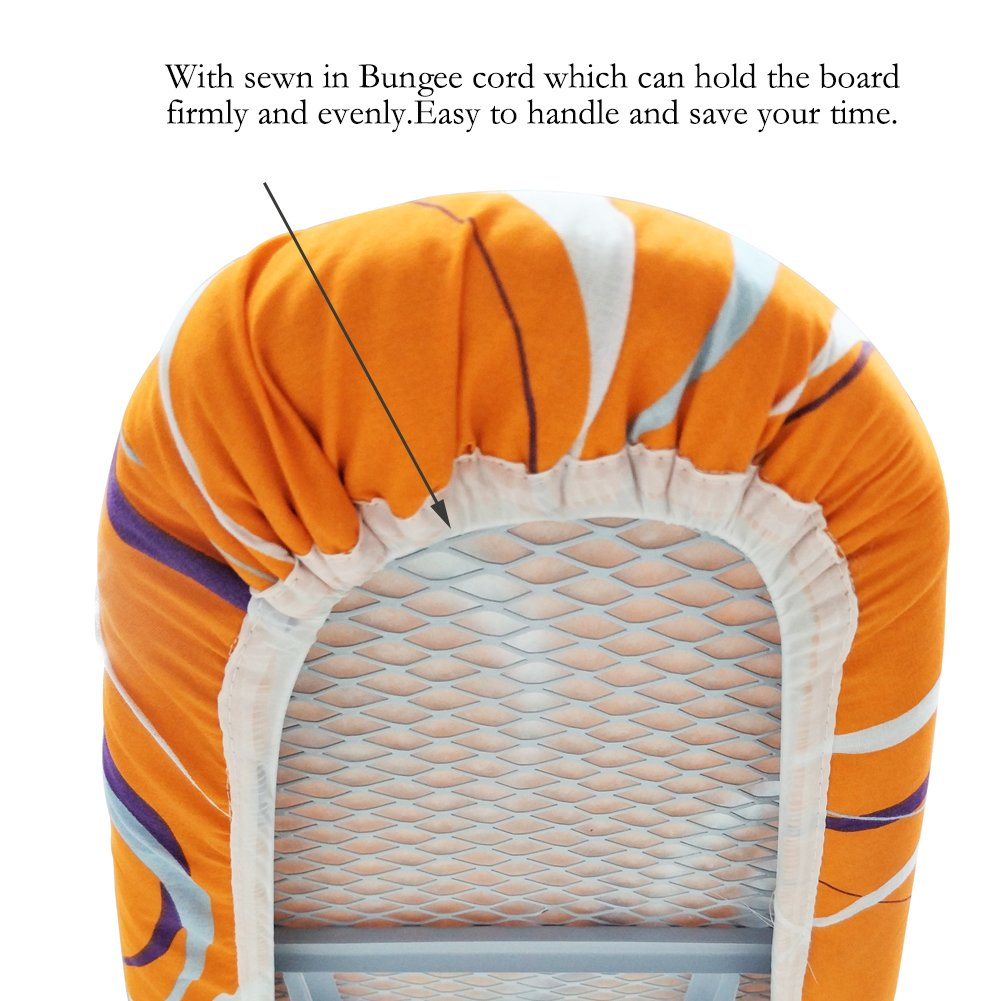 Blue Sewn-in Bungee Cord Binding Fits Board Tightly and Beautifully Duwee 18x50 Cotton Replacement Ironing Board Cover with Thicken Felt Material Padding