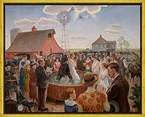 Berkin Arts John Steuart Curry Framed Giclee Print On Canvas-Famous Paintings Fine Art Poster-Reproduction Wall Decor(Baptism in Kansas Whitney)#XLK