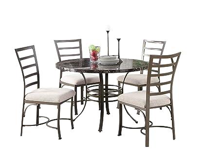 Amazon Com Acme 70057bk Daisy 5 Pack Round Dining Set Black Faux