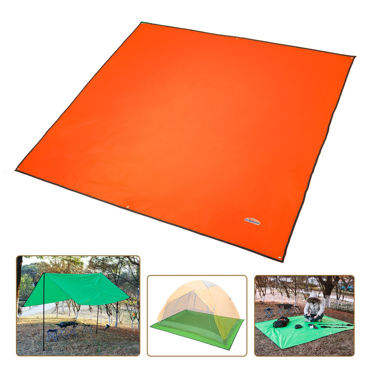 Overmont estera toldo alfombrilla manta impermeable plegable con bolsa para tienda de campaña camping picnic playa senderismo al aire libre azul/naranja/verde/verde oscuro OM-RTarp-S(DGreen)